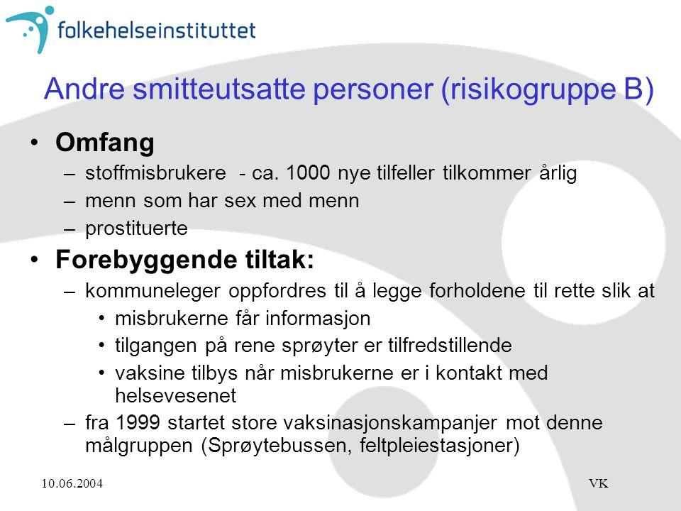 10.06.2004VK Andre smitteutsatte personer (risikogruppe B) Omfang –stoffmisbrukere - ca. 1000 nye tilfeller tilkommer årlig –menn som har sex med menn
