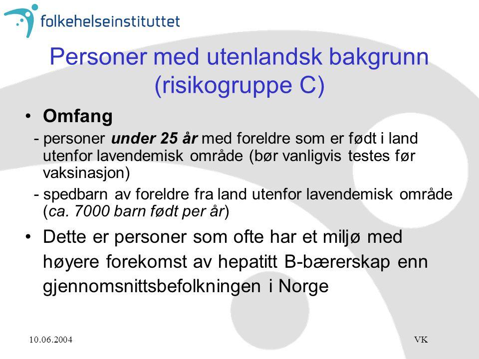 10.06.2004VK Personer med utenlandsk bakgrunn (risikogruppe C) Omfang - personer under 25 år med foreldre som er født i land utenfor lavendemisk områd