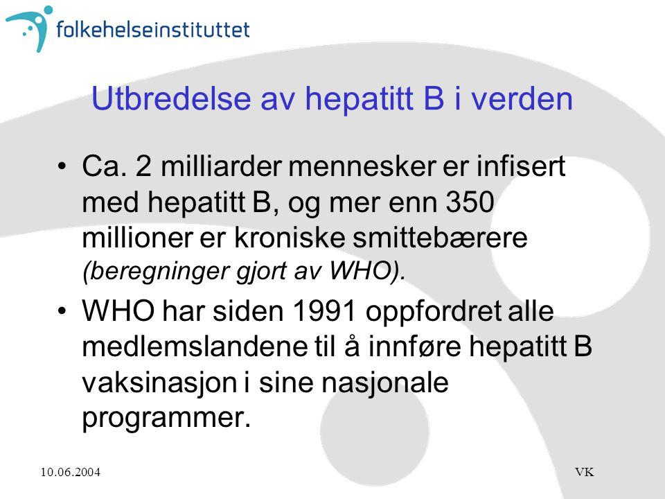 10.06.2004VK Utbredelse av hepatitt B i verden Ca. 2 milliarder mennesker er infisert med hepatitt B, og mer enn 350 millioner er kroniske smittebærer