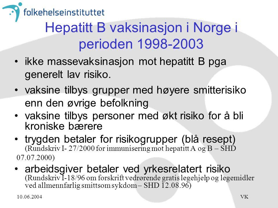 10.06.2004VK Hepatitt B vaksinasjon i Norge i perioden 1998-2003 ikke massevaksinasjon mot hepatitt B pga generelt lav risiko. vaksine tilbys grupper