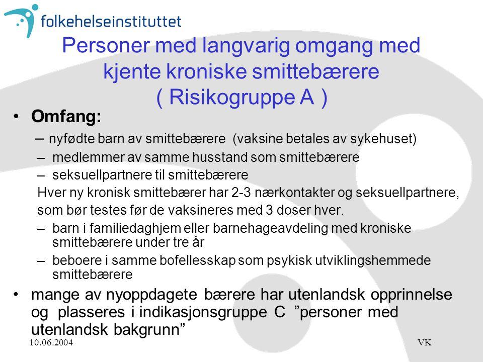 10.06.2004VK Personer med langvarig omgang med kjente kroniske smittebærere ( Risikogruppe A ) Omfang: – nyfødte barn av smittebærere (vaksine betales