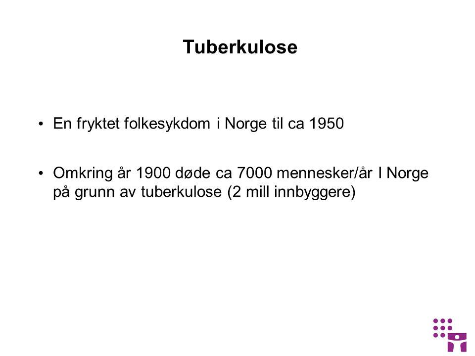 Tuberkulose En fryktet folkesykdom i Norge til ca 1950 Omkring år 1900 døde ca 7000 mennesker/år I Norge på grunn av tuberkulose (2 mill innbyggere)