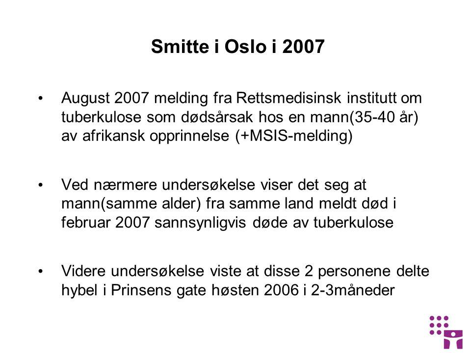 Smitte i Oslo i 2007 August 2007 melding fra Rettsmedisinsk institutt om tuberkulose som dødsårsak hos en mann(35-40 år) av afrikansk opprinnelse (+MSIS-melding) Ved nærmere undersøkelse viser det seg at mann(samme alder) fra samme land meldt død i februar 2007 sannsynligvis døde av tuberkulose Videre undersøkelse viste at disse 2 personene delte hybel i Prinsens gate høsten 2006 i 2-3måneder