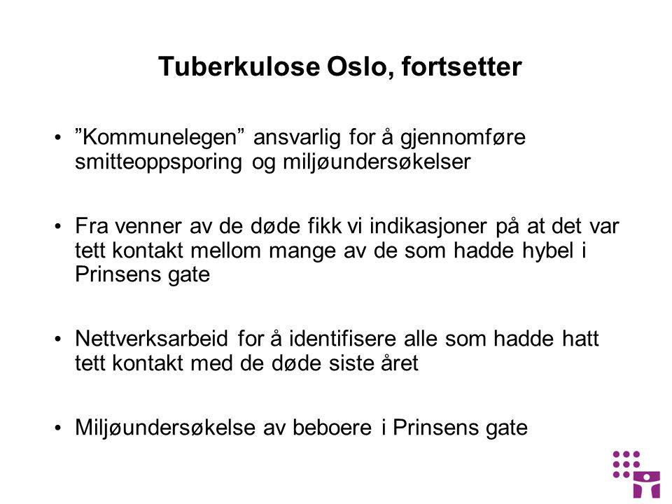 Tuberkulose Oslo, fortsetter Kommunelegen ansvarlig for å gjennomføre smitteoppsporing og miljøundersøkelser Fra venner av de døde fikk vi indikasjoner på at det var tett kontakt mellom mange av de som hadde hybel i Prinsens gate Nettverksarbeid for å identifisere alle som hadde hatt tett kontakt med de døde siste året Miljøundersøkelse av beboere i Prinsens gate