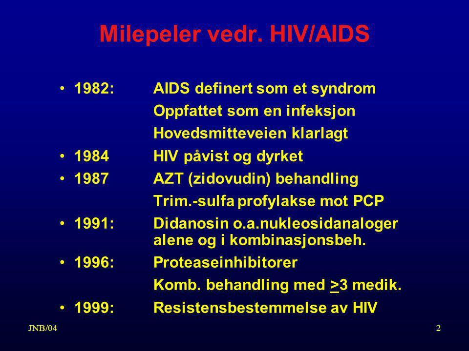 23JNB/04 KONTROLL MED HENBLIKK PÅ UTVIKLING AV HIV-INFEKSJONEN Klinisk kontroll –Symptomer og tegn/kliniske funn som tyder på immunsviktutvikling (ARC eller AIDS) Lymfocyttundersøkelse –Kvantitering av CD4 (T-4) celler (hjelper-celler) –Kvantitering av CD8 (T-8) celler (suppressor-celler) HIV-RNA (viral load) Kontroll hver 3(-6) måned