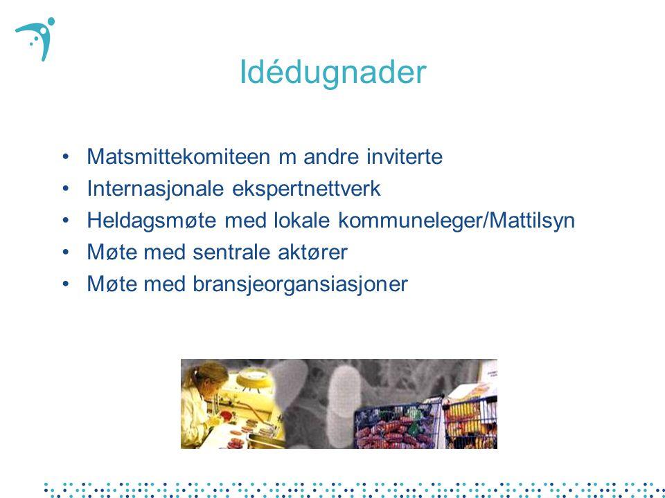 Idédugnader Matsmittekomiteen m andre inviterte Internasjonale ekspertnettverk Heldagsmøte med lokale kommuneleger/Mattilsyn Møte med sentrale aktører