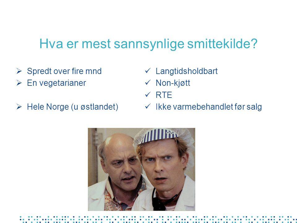 Hva er mest sannsynlige smittekilde?  Spredt over fire mnd  En vegetarianer  Hele Norge (u østlandet) Langtidsholdbart Non-kjøtt RTE Ikke varmebeha