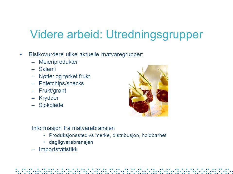 Videre arbeid: Utredningsgrupper Risikovurdere ulike aktuelle matvaregrupper: –Meieriprodukter –Salami –Nøtter og tørket frukt –Potetchips/snacks –Fru