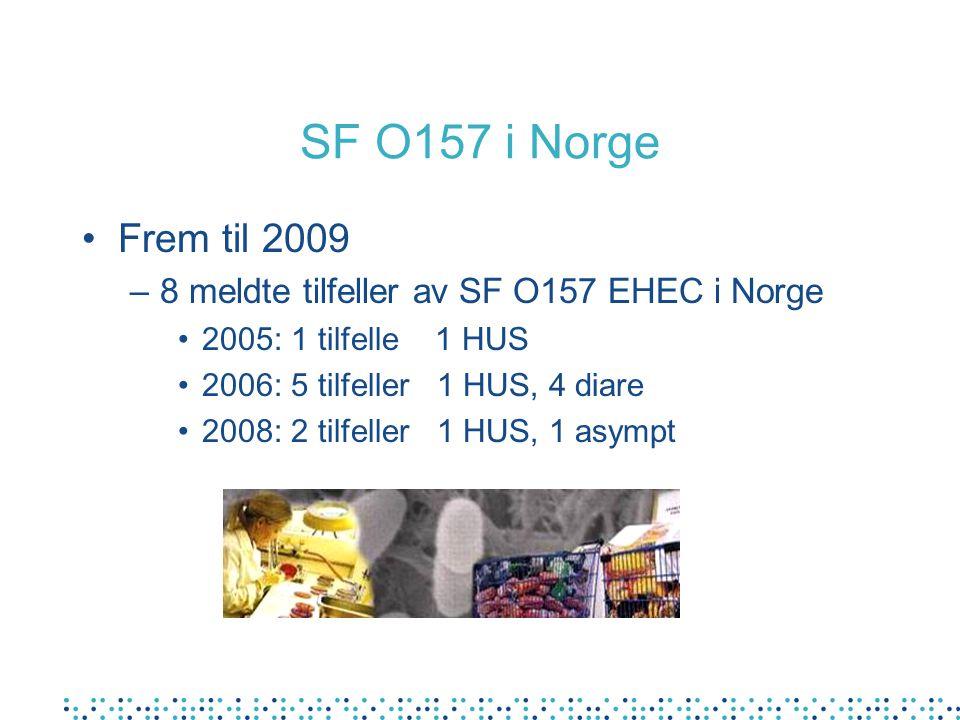 SF O157 i Norge Frem til 2009 –8 meldte tilfeller av SF O157 EHEC i Norge 2005: 1 tilfelle 1 HUS 2006: 5 tilfeller 1 HUS, 4 diare 2008: 2 tilfeller 1