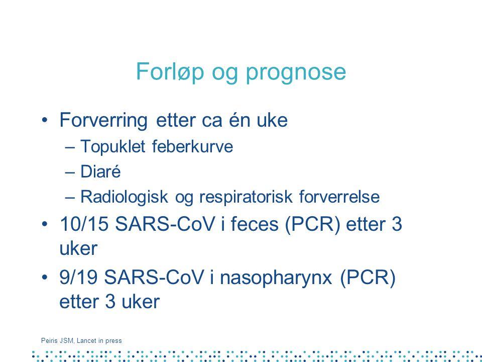 Forløp og prognose Forverring etter ca én uke –Topuklet feberkurve –Diaré –Radiologisk og respiratorisk forverrelse 10/15 SARS-CoV i feces (PCR) etter