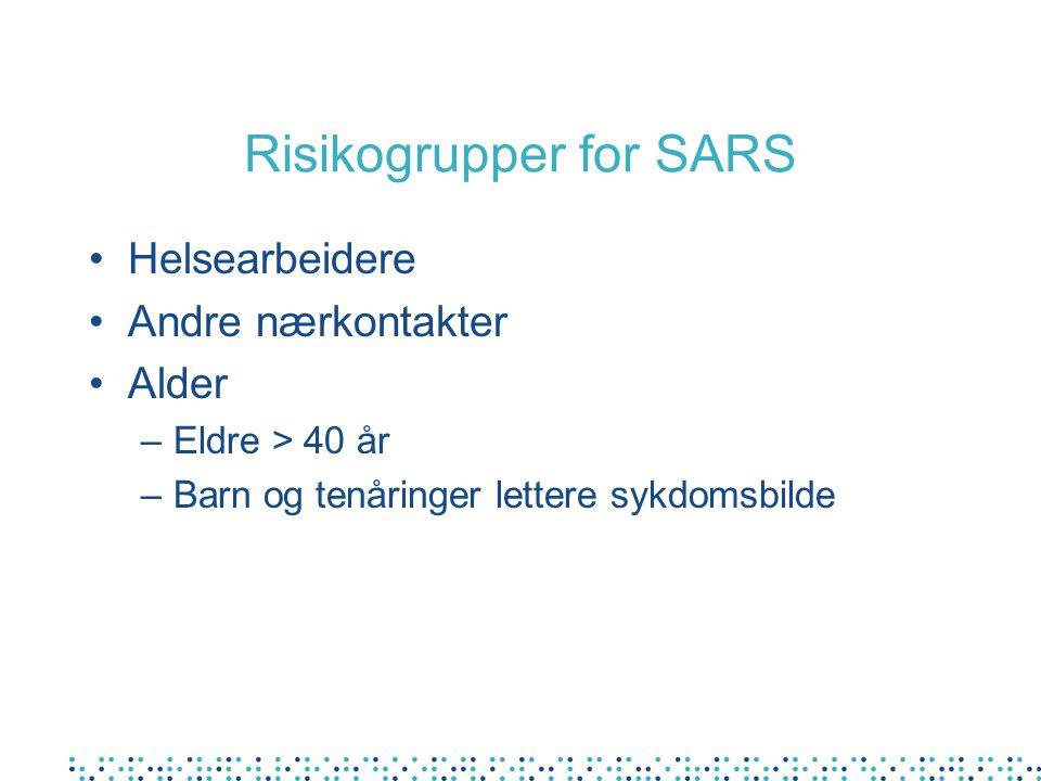 Risikogrupper for SARS Helsearbeidere Andre nærkontakter Alder –Eldre > 40 år –Barn og tenåringer lettere sykdomsbilde