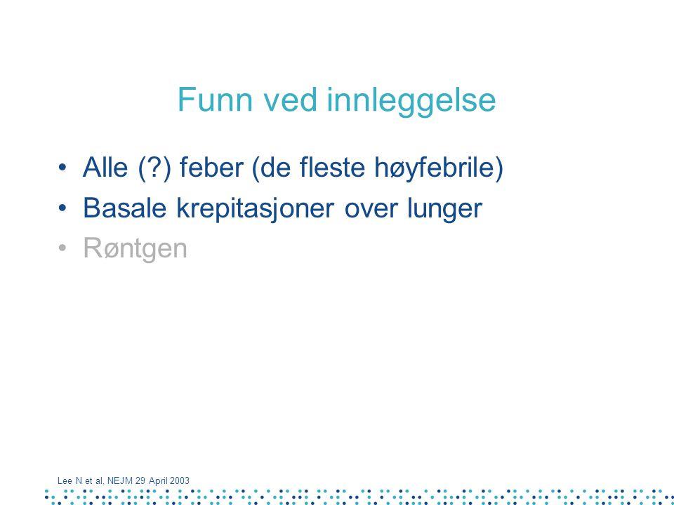 Funn ved innleggelse Alle (?) feber (de fleste høyfebrile) Basale krepitasjoner over lunger Røntgen Lee N et al, NEJM 29 April 2003