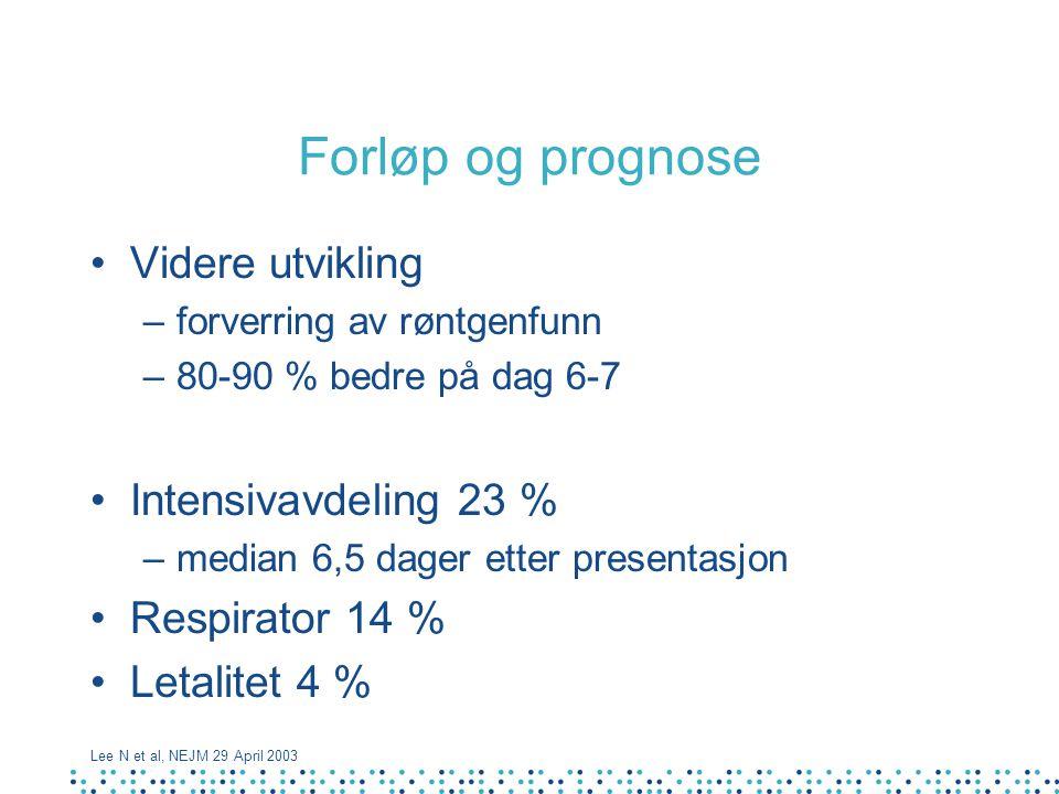Forløp og prognose Videre utvikling –forverring av røntgenfunn –80-90 % bedre på dag 6-7 Intensivavdeling 23 % –median 6,5 dager etter presentasjon Re
