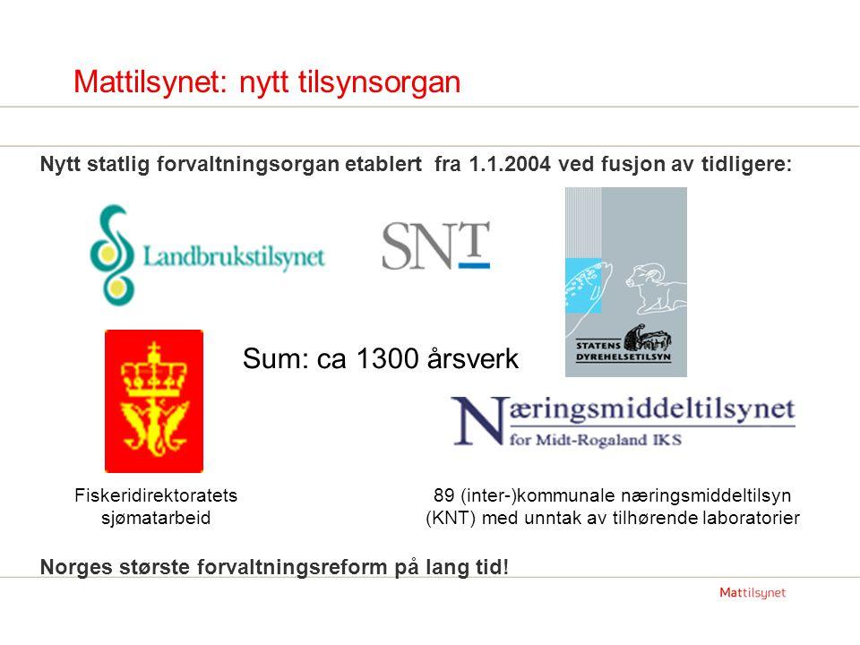 Mattilsynets organisasjon Hovedkontor Oslo, 130 årsverk, 4 fagavdelinger: Helse og hygiene Dyrevern, fremmestoff og forbrukerhensyn Enhetlig, helhetlig tilsyn Administrasjon 8 regionkontor (noen av disse med kompetansesenter for nasjonale oppgaver); til sammen 230 årsverk 64 distriktskontor; til sammen 940 årsverk Linjeorganisasjon; (også i smittevern-arbeid og ved oppklaring av næringsmiddelbårene utbrudd): Distriktskontor er førstelinje-tjeneste Ved behov: koordinering fra region- og evt hovedkontor