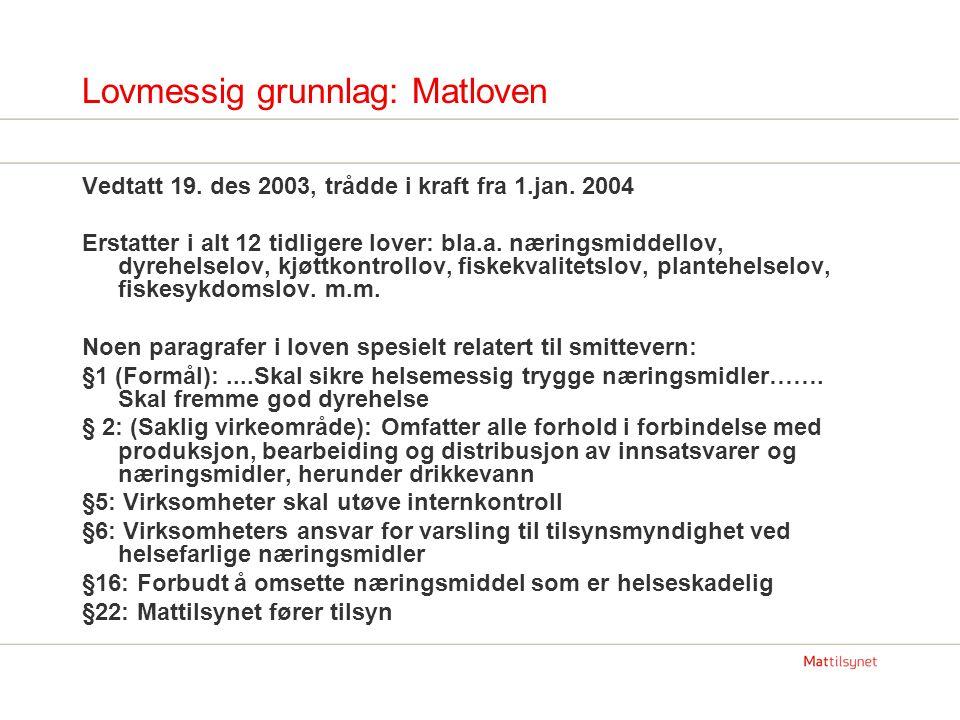Hvilken fagkompetanse har Mattilsynet knyttet til smittevern.