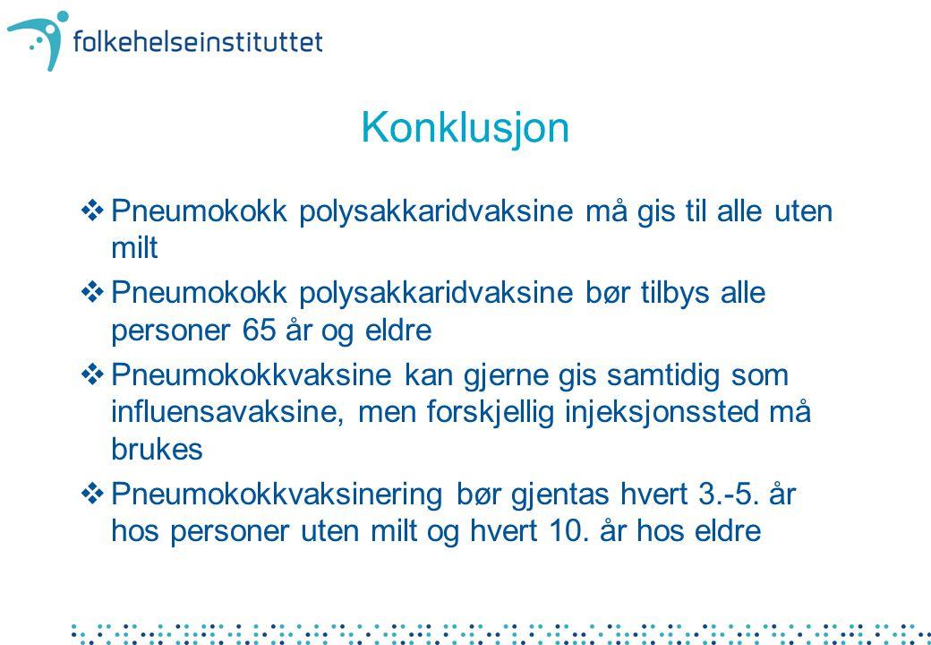 Konklusjon  Pneumokokk polysakkaridvaksine må gis til alle uten milt  Pneumokokk polysakkaridvaksine bør tilbys alle personer 65 år og eldre  Pneum