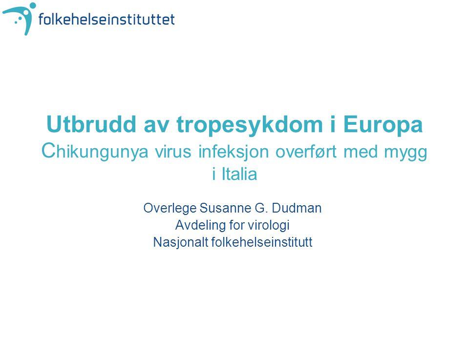 Utbrudd av tropesykdom i Europa C hikungunya virus infeksjon overført med mygg i Italia Overlege Susanne G. Dudman Avdeling for virologi Nasjonalt fol
