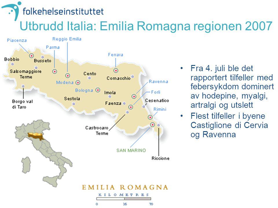 Utbrudd Italia: Emilia Romagna regionen 2007 Fra 4. juli ble det rapportert tilfeller med febersykdom dominert av hodepine, myalgi, artralgi og utslet