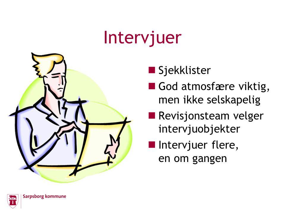 Intervjuer Sjekklister God atmosfære viktig, men ikke selskapelig Revisjonsteam velger intervjuobjekter Intervjuer flere, en om gangen