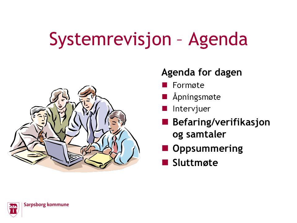 Systemrevisjon – Agenda Agenda for dagen Formøte Åpningsmøte Intervjuer Befaring/verifikasjon og samtaler Oppsummering Sluttmøte