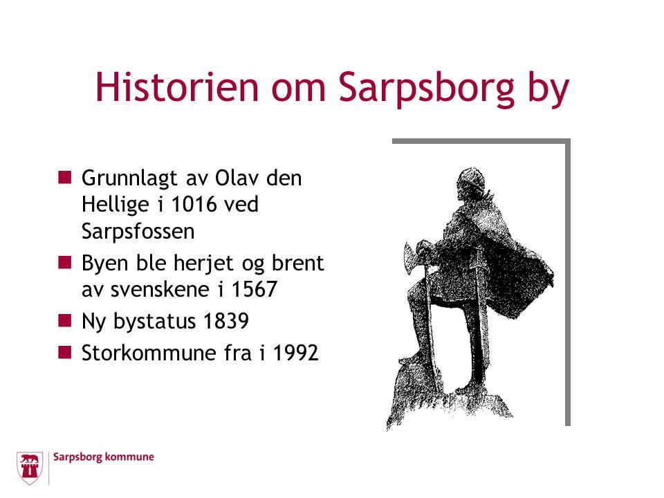 Historien om Sarpsborg by Grunnlagt av Olav den Hellige i 1016 ved Sarpsfossen Byen ble herjet og brent av svenskene i 1567 Ny bystatus 1839 Storkommu