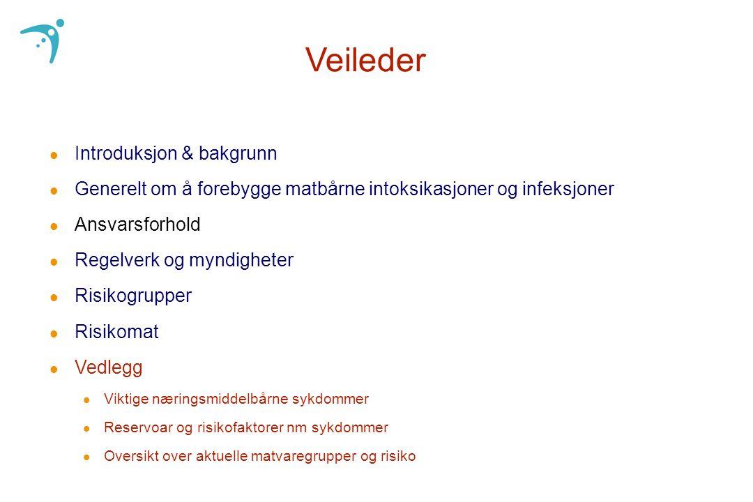 Veileder l Introduksjon & bakgrunn l Generelt om å forebygge matbårne intoksikasjoner og infeksjoner l Ansvarsforhold l Regelverk og myndigheter l Ris