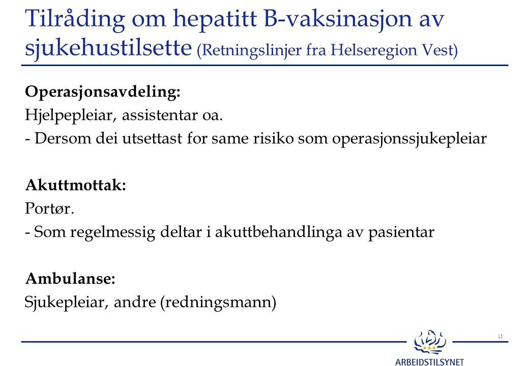 15 Tilråding om hepatitt B-vaksinasjon av sjukehustilsette (Retningslinjer fra Helseregion Vest) Operasjonsavdeling: Hjelpepleiar, assistentar oa.