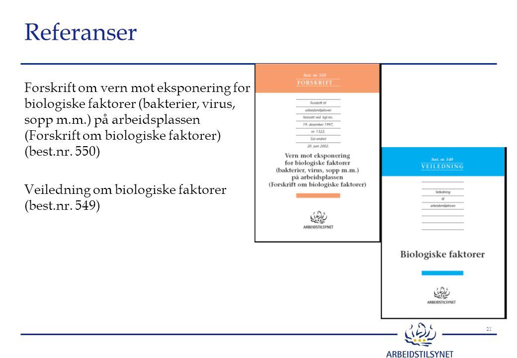 21 Referanser Forskrift om vern mot eksponering for biologiske faktorer (bakterier, virus, sopp m.m.) på arbeidsplassen (Forskrift om biologiske faktorer) (best.nr.
