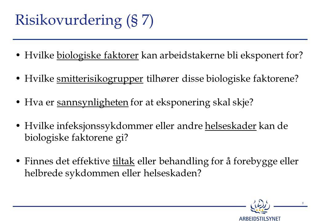 6 Risikovurdering (§ 7) Hvilke biologiske faktorer kan arbeidstakerne bli eksponert for? Hvilke smitterisikogrupper tilhører disse biologiske faktoren