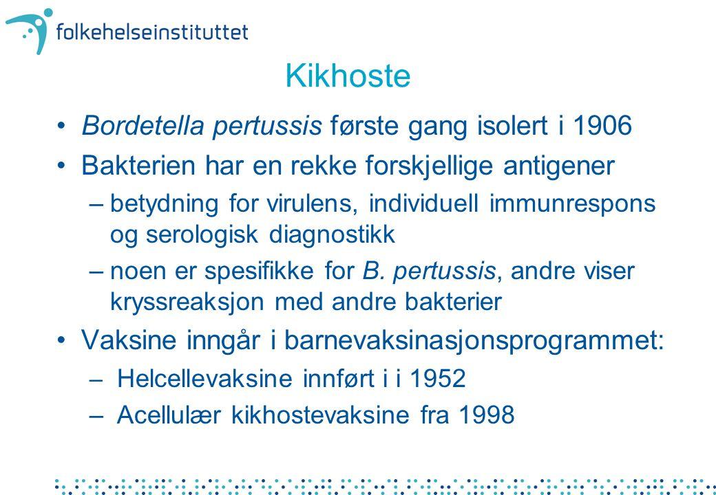 Kikhoste Bordetella pertussis første gang isolert i 1906 Bakterien har en rekke forskjellige antigener –betydning for virulens, individuell immunrespons og serologisk diagnostikk –noen er spesifikke for B.