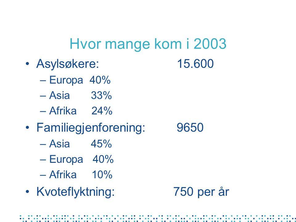 Hvor mange kom i 2003 Asylsøkere: 15.600 –Europa 40% –Asia 33% –Afrika 24% Familiegjenforening: 9650 –Asia 45% –Europa 40% –Afrika 10% Kvoteflyktning: