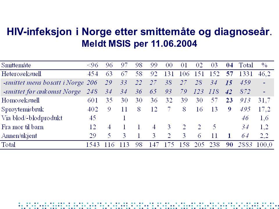 HIV-infeksjon i Norge etter smittemåte og diagnoseår. Meldt MSIS per 11.06.2004