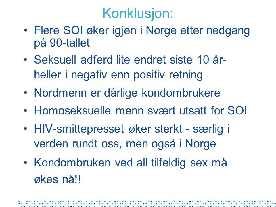 Konklusjon: Flere SOI øker igjen i Norge etter nedgang på 90-tallet Seksuell adferd lite endret siste 10 år- heller i negativ enn positiv retning Nord
