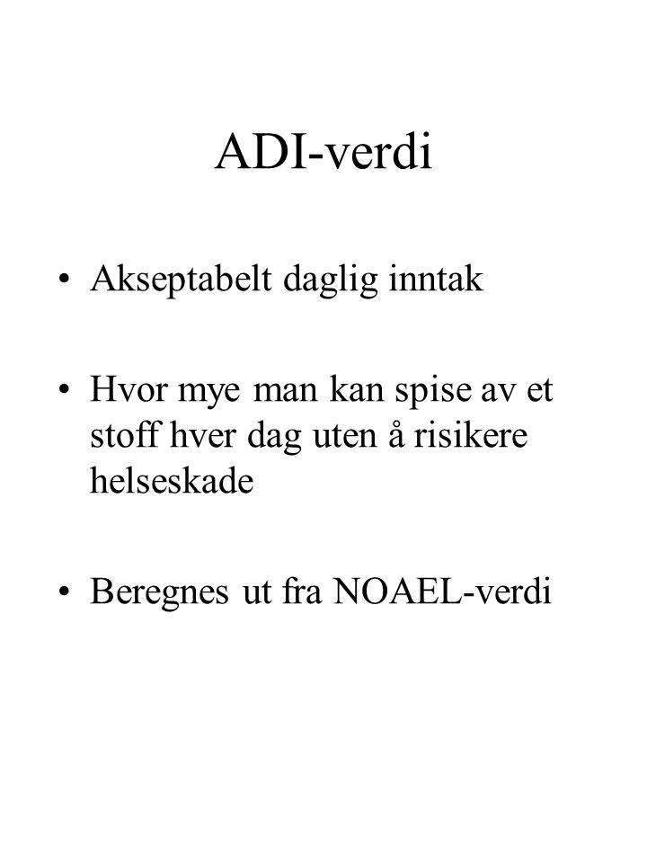 ADI-verdi Akseptabelt daglig inntak Hvor mye man kan spise av et stoff hver dag uten å risikere helseskade Beregnes ut fra NOAEL-verdi