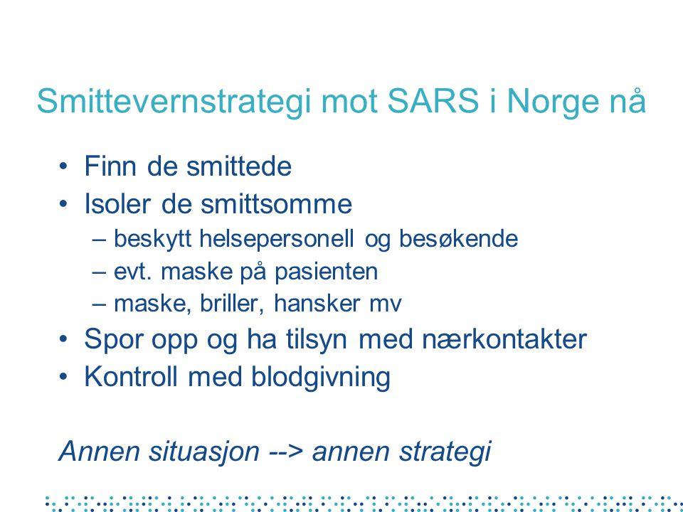 Smittevernstrategi mot SARS i Norge nå Finn de smittede Isoler de smittsomme –beskytt helsepersonell og besøkende –evt. maske på pasienten –maske, bri