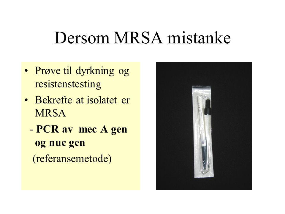 Dersom MRSA mistanke Prøve til dyrkning og resistenstesting Bekrefte at isolatet er MRSA - PCR av mec A gen og nuc gen (referansemetode)