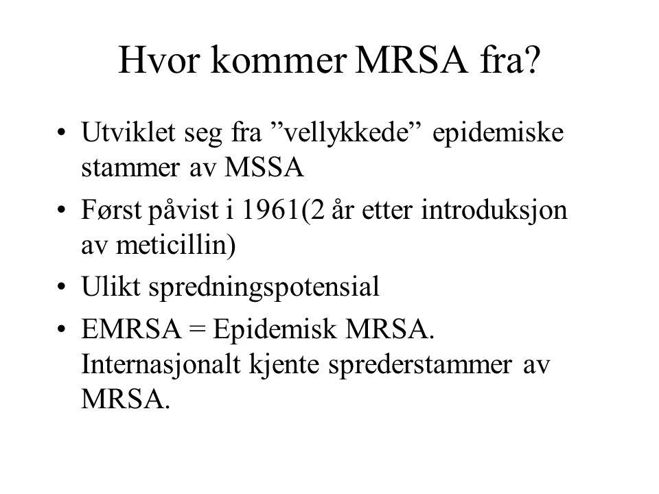 """Hvor kommer MRSA fra? Utviklet seg fra """"vellykkede"""" epidemiske stammer av MSSA Først påvist i 1961(2 år etter introduksjon av meticillin) Ulikt spredn"""
