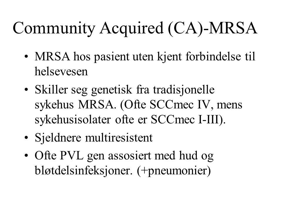 Community Acquired (CA)-MRSA MRSA hos pasient uten kjent forbindelse til helsevesen Skiller seg genetisk fra tradisjonelle sykehus MRSA. (Ofte SCCmec