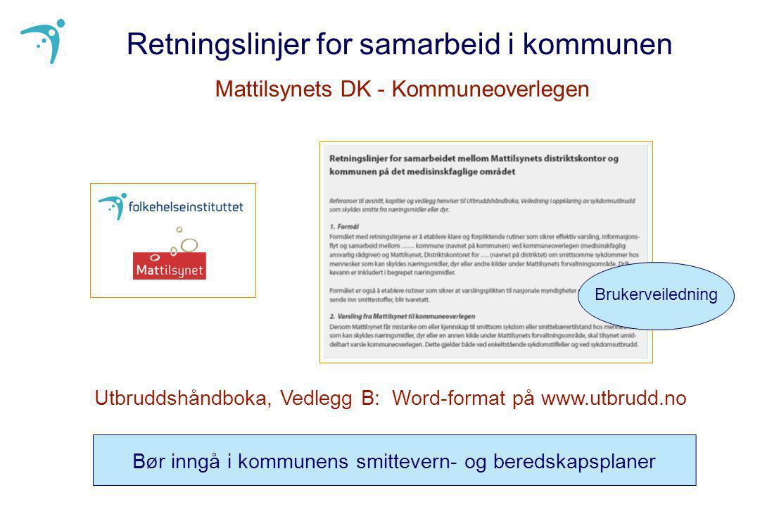 Retningslinjer for samarbeid i kommunen Mattilsynets DK - Kommuneoverlegen Utbruddshåndboka, Vedlegg B: Word-format på www.utbrudd.no Bør inngå i komm