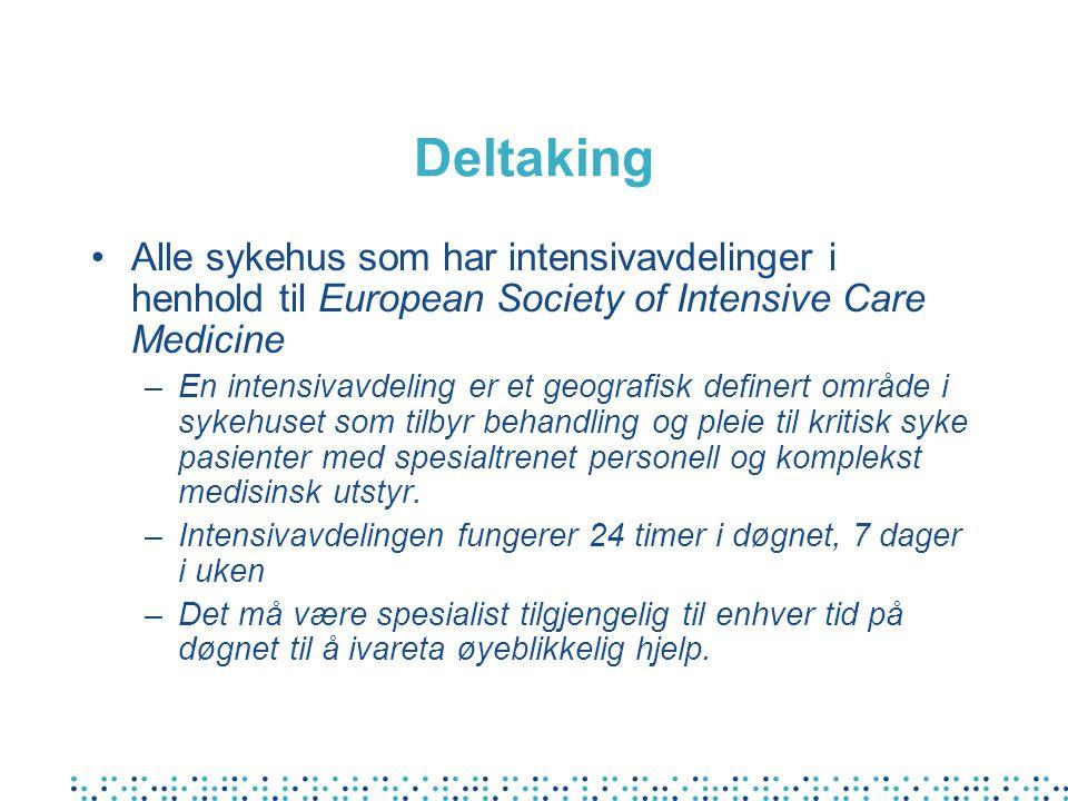 Deltaking Alle sykehus som har intensivavdelinger i henhold til European Society of Intensive Care Medicine –En intensivavdeling er et geografisk defi