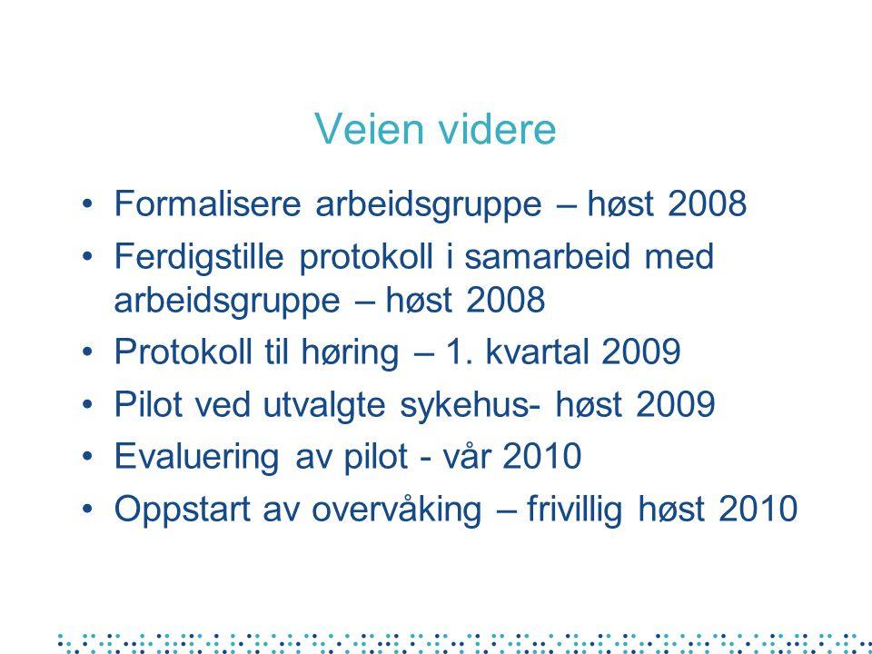 Veien videre Formalisere arbeidsgruppe – høst 2008 Ferdigstille protokoll i samarbeid med arbeidsgruppe – høst 2008 Protokoll til høring – 1. kvartal