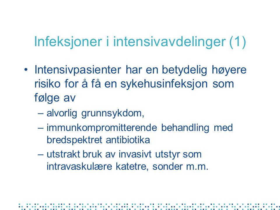 Infeksjoner i intensivavdelinger (2) De vanligste sykehusinfeksjonene hos intensivpasienter er 1.Pneumoni i forbindelse med respiratorbehandling (VAP; ventilator assosiert pneumoni), 2.Infeksjoner i blodbanen (BBI) spesielt i forbindelse med bruk av intravaskulære katetre (SVK-BBI).