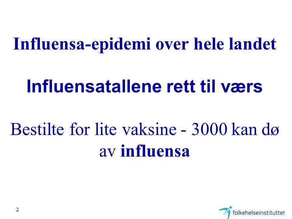 2 Influensa-epidemi over hele landet Influensatallene rett til værs Bestilte for lite vaksine - 3000 kan dø av influensa
