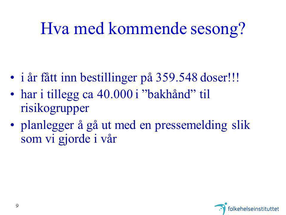 9 Hva med kommende sesong.i år fått inn bestillinger på 359.548 doser!!.