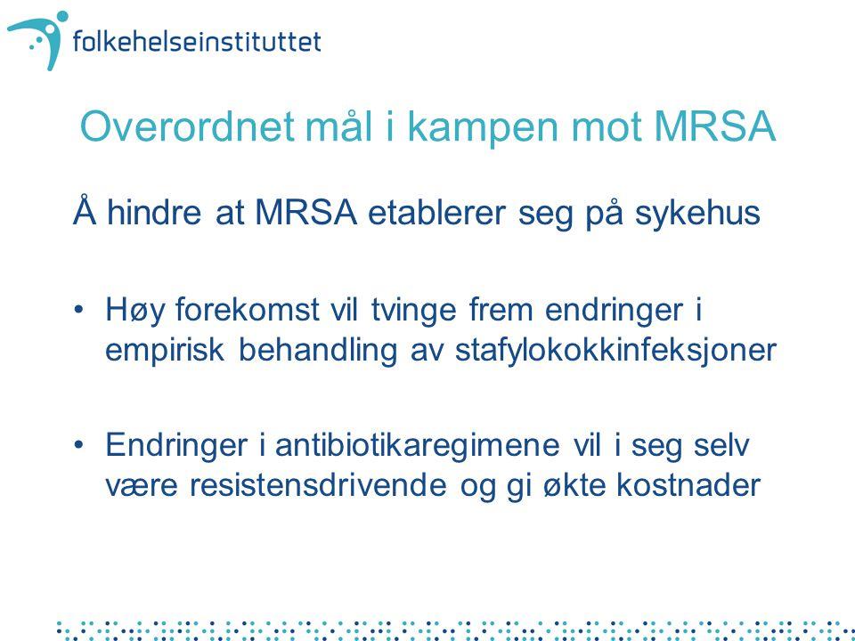 Overordnet mål i kampen mot MRSA Å hindre at MRSA etablerer seg på sykehus Høy forekomst vil tvinge frem endringer i empirisk behandling av stafylokok
