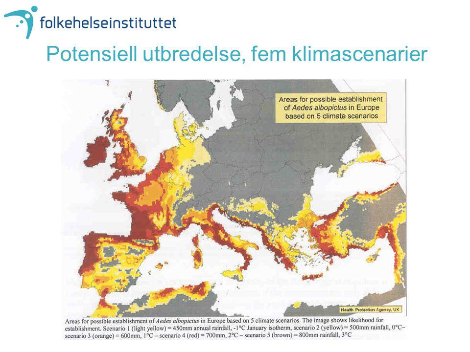 Potensiell utbredelse, fem klimascenarier