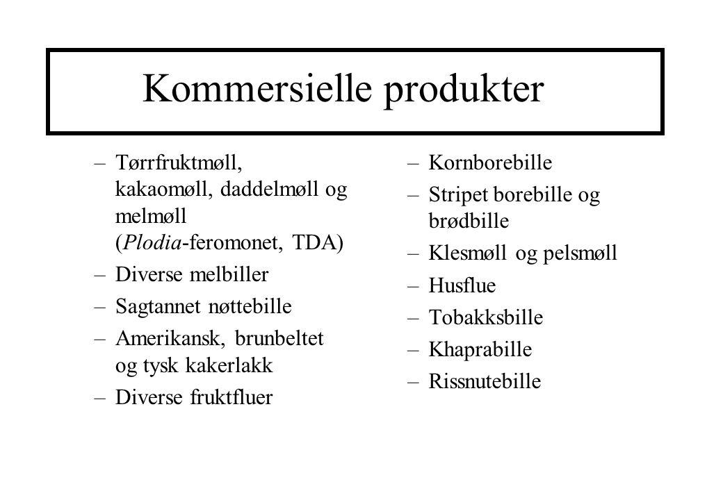 Kommersielle produkter –Tørrfruktmøll, kakaomøll, daddelmøll og melmøll (Plodia-feromonet, TDA) –Diverse melbiller –Sagtannet nøttebille –Amerikansk,