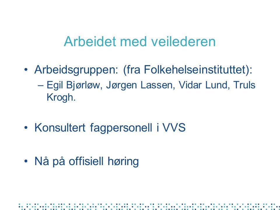 Arbeidet med veilederen Arbeidsgruppen: (fra Folkehelseinstituttet): –Egil Bjørløw, Jørgen Lassen, Vidar Lund, Truls Krogh. Konsultert fagpersonell i