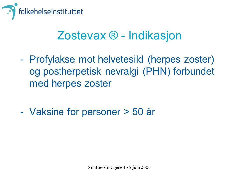 Smitteverndagene 4.- 5.juni 2008 Zostevax ® - Indikasjon -Profylakse mot helvetesild (herpes zoster) og postherpetisk nevralgi (PHN) forbundet med her