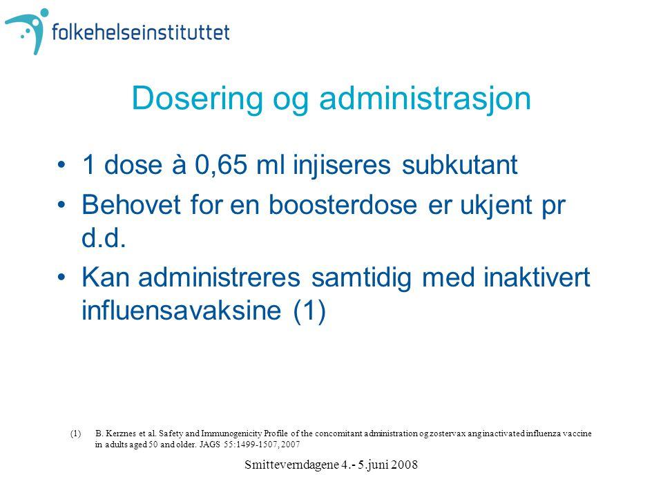Smitteverndagene 4.- 5.juni 2008 Dosering og administrasjon 1 dose à 0,65 ml injiseres subkutant Behovet for en boosterdose er ukjent pr d.d. Kan admi
